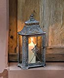 Metall Laterne'Barock' im Rost Design 46 cm hoch, Antik Look, Gartenlaterne, Kerzenständer