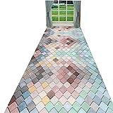 SXMXO Läufer Teppiche Flur Küchenteppich Mehrfarbig Zeitgenosse Design Teppich Mit rutschfest...