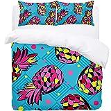Josid Buntes Ananas-Muster Schmusetuch Bettbezug mit Reißverschluss, weiche leichte Mikrofaser,...