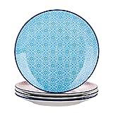 vancasso Speiseteller Porzellan, Macaron 4 teilig Flachteller bunt, Geschirr Tellerset  27 cm...