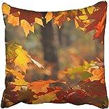 MAMAARE Mamaure Kissenbezug, bunt, Herbstmotiv, rote Eiche Blätter im Wald, Grünes Altern,...