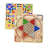 EElabper Holz-Puzzle-Spiel Schach, Halma 2 in 1 Brettspiel, Holz Chinese Checkers, Klassisches...