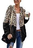 cxzas852 Damen Jacke Mantel Mode Dame Leopardenmuster Stehkragen nähte Jacke bequem warm halten...