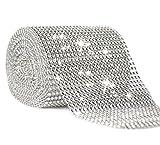 Joyolelf 24 Reihe Silber Strassband Diamant Band Dekoband, Perfekt für bling Braut, Blumenstrauß,...