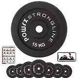 Hantelscheiben Gewichte Gusseisen Set 5-40 kg für Kurzhanteln 30 mm Paar (2 x 15 kg)