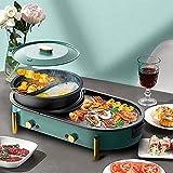 Elektrischer Hot Pot Grill elektrischer Grillgrill, 2 in 1 Non-Stick BBQ und Shabu-Topf mit...