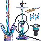ORACLE HOOKAH Rainbow Shisha Set V2A Regenbogen Edelstahl Wasserpfeife 72cm 4 Anschlsse mit Zubehr...