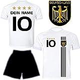 DE FANSHOP Deutschland Trikot mit Hose & GRATIS Wunschname + Nummer #D5 2021 2022 EM/WM Weiss -...