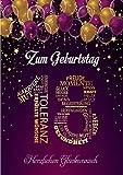 Elegante Glückwunschkarte Geburtstag einzigartig Geburtstagskarte A5 mit Nummer und Glückwünschen...