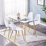 GOLDFAN Moderne Küche Rechteckig Esstisch Glas mit 4 Weiß Stühlen Mit Metallbeinen Geeignet für...