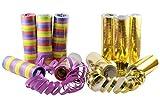 kiddyparty Luftschlangen, 10er Pack Premium Qualität Papierschlangen, 5 Stück Gold/weiß metallic,...