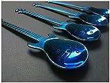 Steel Rock Roll Gitarren-Musiker irisierend Rose Gold Elektrischer Akustiklöffel 12 x 3.2 cms blau