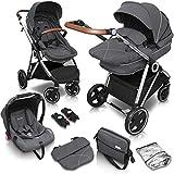 babyGO Kinderwagen 3 in 1 Halime mit Silber Gestell - Kinderwagenset für Babys - Kombikinderwagen...