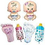 6 Stück Baby Folienballon, Schnuller Baby, Nuckelflasche, Füße, Automatisch Versiegelt...