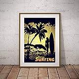 Geiqianjiumai Retro tropischen seelandschaft Leinwand Malerei Wandkunst Surfen Foto Mdchen Surfen...