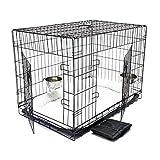 Wiltec Haustier Hundebox Transportbox Komplettset Hundekäfig Faltbar Transportkäfig L 107x71x76cm...