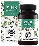 NATURE LOVE® Zink - 365 Tabletten (1 Jahr) - Hochdosiert (25mg): Zink-Bisglycinat (Zink Chelat) von...