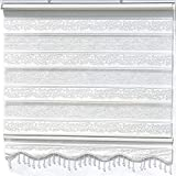Doppelrollo Weiß Silber glitzert Duorollo für Fensterrollos Gardinen Zebra Perde 160 x 200 cm