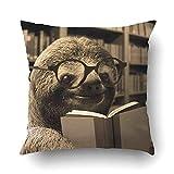 saletopk Kissenbezüge Dec niedliches Faultier mit Brille, Lesen, Bücher, Druck, Kissenbezug,...