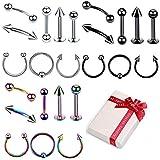 3 Farbe Piercing Set 24 Stücke Chirurgenstahl Körperpiercing Stud Barbell für Augenbrauen Zunge...
