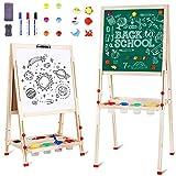 Kindertafel, Magnet Staffelei, Tafel Kinder Doppelseitige Standtafel für Kinder, Höhenverstellbar...