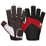 FitsT4 Kajak-Handschuhe 3/4-Finger gepolsterte Handflche  Mesh-Rcken fr Komfort  Perfekt zum Segeln,...