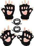 2 Pairs Cat Paw Handschuhe Soft Winter Fingerless Mitten Handschuhe Halloween Cosplay Kostüm...