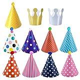Dokpav Geburtstag Dekoration Set, 11 Stück Partyhüte zum Geburtstag mit Pompons,Partyhüte Party...