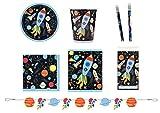 Unbekannt Partyset Weltraum Rakete Teller Becher Servietten Tüten Girlande Tischdecke Bleistifte