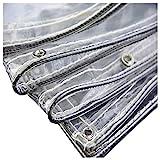 ZHAIHL Hochleistungs-wasserdichte durchsichtige Plane mit Ösen, 0,35 mm transparentes PVC-Glas...