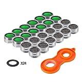 24 Stück Strahlregler Luftsprudler, KWOKWEI 24MM Wasserhahn Hahn Filter aus ABS, M24 Wasserhahn...