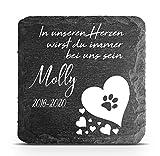 TULLUN Individueller Personalisiert Tiergrabstein Schiefer Gedenkstein für Hund, Katze und andere...