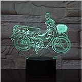Neu 3D Illusion Nachtlicht Baby LED Nachtlicht Motorrad 3D Tischlampe Glühbirne 3D Illusion Cool...