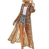 Geilisungren Damen Lange Sommer Bohemien Strand Kimono Leopardenmuster Cardigan Bluse Tops Bikini...