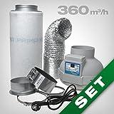 GrowPRO Aktivkohlefilter Lftungsset inkl. Rohrventilator 230/360 m/h AKF Belftungsset fr...