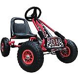 Kiddo RG0209 Kinderpedal Go-Kart Ride-On, Verstellbarer Sitz, Gummireifen, geeignet für 4 bis 8...