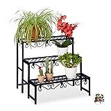 Relaxdays Blumentreppe aus Metall, rechteckiges Blumenregal mit 3 Ebenen, fr den Garten, Balkon oder...