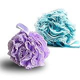 G2PLUS Soft Körper Badeschwamm Schwamm Duschschwämm Seifschwamm Puff, Purple and Blue, 2er-pack