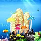 Redxiao Aquarium Glühende Dekorationen, Aquarium Glühender Pilz Korallen Ornamente Pflanze Schöne...