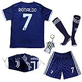 GamesDur 2020/2021 Neu Juve #7 Ronaldo Auswärts Marineblau Kinder Fußballtrikot-Hose Set...