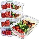 GOOD FOR YOU 5er Pack Glasmehl-Vorbereitungsbehälter - Glas-Lagerbehälter mit Deckel -...