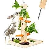 Nagergaleria Futterbaum Kaninchen Meerschweinchen mit Bodenplatte aus Holz und Erdspieß fürs...