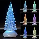 TRONJE LED Christbaum 22cm Weihnachtsbaum mit Timer USB Tannenbaum beleuchteter Acrylbaum...