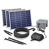 Solar Bachlaufset Professional mit 12V/24Ah Akkuspeicher und 3 x 50W Solarmodul - 4.200 l/h...