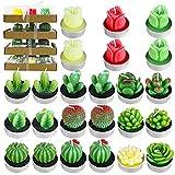 PUDSIRN Kaktus-Teelichtkerzen-Set, handgefertigt, zarte Sukkulenten, Kaktus-Teelichter, künstliche...