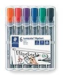 Staedtler Lumocolor 356 WP6 Flipchart-Marker, Rundspitze ca. 2 mm Linienbreite, Set mit 6 Farben,...
