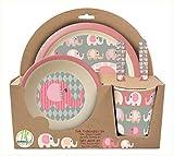 POS 30750 - Frühstücksset 5 teilig aus Bambus mit niedlichem Elefantinis Motiv, besteht aus...