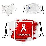 Red Ribbon World Aids Awareness Mund Nasenschutz, Erwachsene Anti-HIV Mund Schutz mit 2 Stück...
