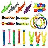 MonQi 28Stk Tauchspielzeug - Unterwasser Schwimmbad Spielzeug, Tauchringe*4,Toypedo Bandits*4,...