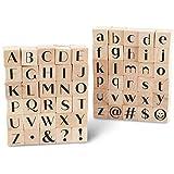 Stempel Holz Gummi Stempel Alphabet Stempel Set (0.6 x 0.6 x 0.9 Zoll, 60 Stück)